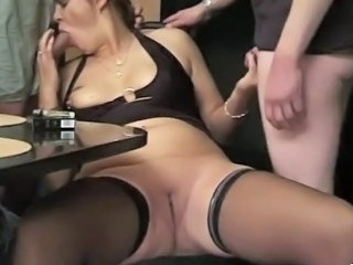 Amateur Blowjob Chubby Mature Mom Old and Young Shaved Stockings Threesome