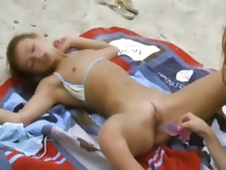 Beach Lesbian Outdoor Skinny Small Tits Teen Toy