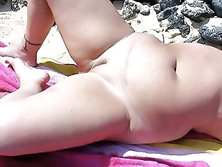 Beach Chubby  Nudist Shaved Wife