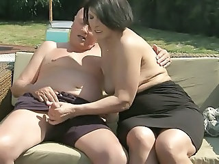 European Handjob Mature Outdoor