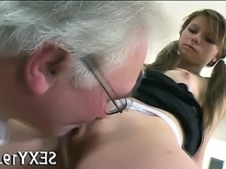 Licking Old and Young Pigtail Russian Teacher