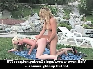 Blonde Cute European Lesbian  Public Strapon