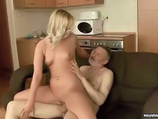 Kitchen Old and Young Riding Shaved Teen