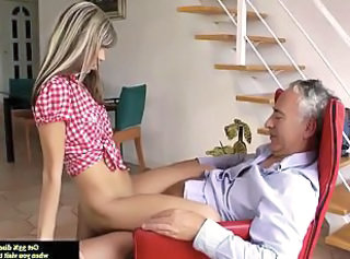 Old and Young Riding Skinny Teen Amateur