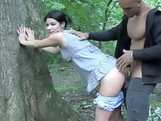 Amateur Clothed Doggystyle Interracial Outdoor Teen Forest