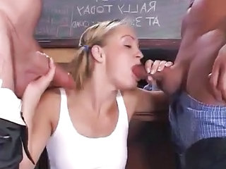Blowjob School Student Teen Threesome Schoolgirl