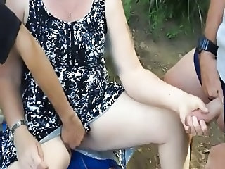 Amateur Chubby Handjob Outdoor Threesome Wife Outdoor