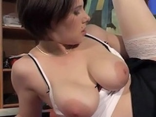 Big Tits European French  Natural  Stockings