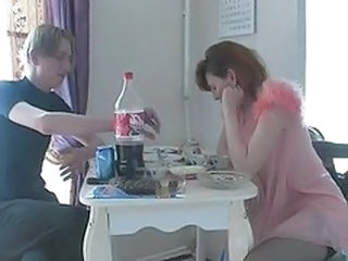 Amateur Drunk Homemade Kitchen Mature Mom Old and Young Redhead Russian Housewife