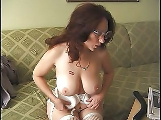 Big Tits Glasses Lingerie Masturbating  Mom Natural