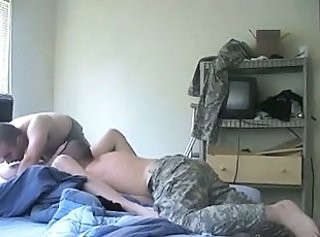 Amateur Army Homemade Licking Threesome
