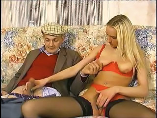 Blonde Daddy Daughter Handjob Lingerie Old and Young  Stockings