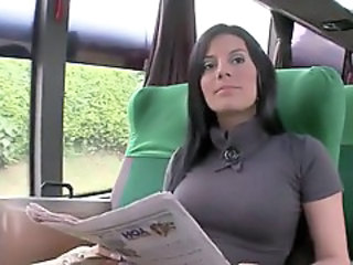 Amazing Brunette Bus  Public Spanish