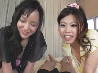 Asian Handjob Threesome