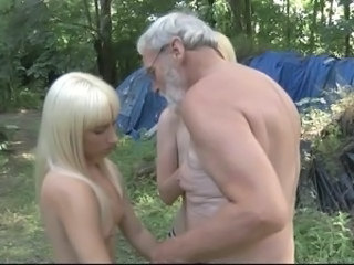 Daddy Old and Young Outdoor Teen Threesome Crazy