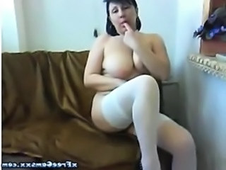Big Tits Masturbating  Natural Solo Stockings Webcam