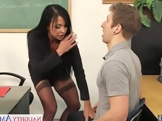 Handjob  Old and Young Pornstar School Stockings Teacher Classroom