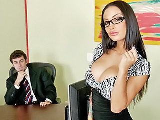 Amazing Big Tits Glasses  Office Pornstar Secretary Silicone Tits