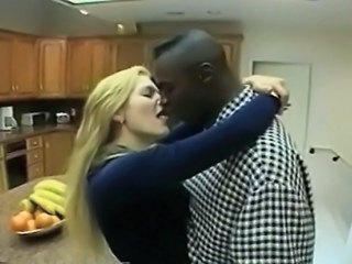 Interracial Kissing Kitchen Romantic