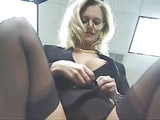 Amazing Blonde Glasses  Office Secretary Stockings Stripper