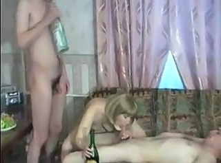 Amateur Blowjob Drunk Family  Mom Old and Young Small cock Threesome