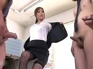 Asian Japanese  Office Secretary Small cock Stockings Stripper Threesome