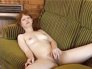 British European Masturbating  Redhead Solo