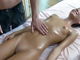 Massage Oiled Shaved Skinny Small Tits Teen