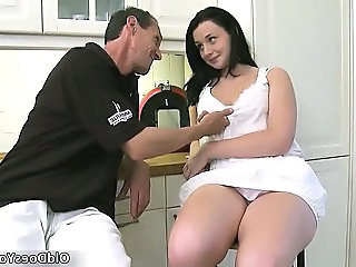 Brunette Daddy Daughter Kitchen Old and Young Teen