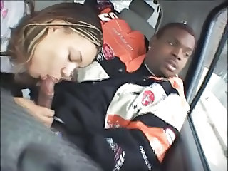 Amateur Blowjob Car Clothed Ebony Girlfriend