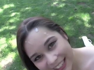 Cumshot Facial Cute Outdoor Teen