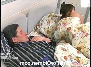 Daddy Daughter Old and Young Sleeping Teen Daddy