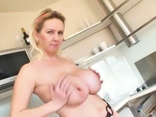 Big Tits Kitchen Mature Mom Natural Nipples  Solo
