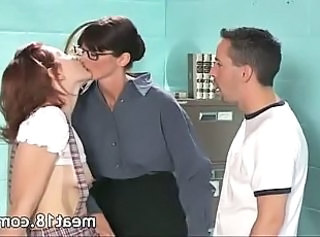 Glasses  Old and Young School Student Teacher Teen Threesome