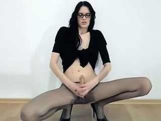 Glasses Pantyhose Skinny Solo Teen Toy