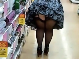 Public Upskirt Voyeur Stockings