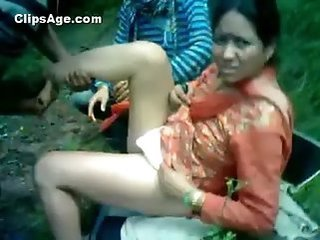 Amateur Indian Mom Old and Young Outdoor Son