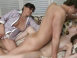 Daughter Family Mature Mom Old and Young Teen Threesome