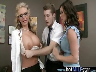 Amazing Big Tits Glasses  Office Old and Young Pornstar Secretary Threesome Boobs