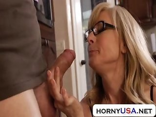 Blowjob Glasses Mature Mom Old and Young Stockings Lingerie Mother Housewife
