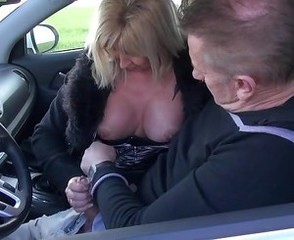 Car Clothed European French Handjob Mature Older Wife French