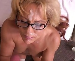 Amateur Cumshot Facial Glasses Mature Pov