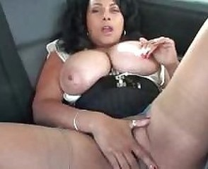 Big Tits Car Masturbating Mature Natural Solo Stockings
