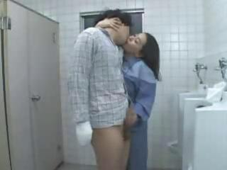 Asian Handjob Japanese Kissing Mature Old and Young Toilet Uniform