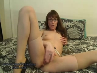 Amazing Cute Glasses Masturbating  Skinny Small Tits Solo Stockings Webcam Pantyhose Amateur