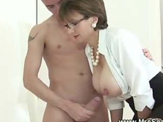 Big Tits British European Glasses  Natural Old and Young Pornstar Teacher