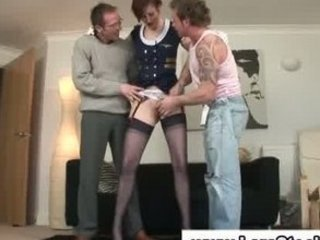 British European  Old and Young Stockings Threesome British