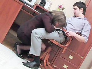 Blowjob Clothed Glasses Mom Office Old and Young Russian Secretary