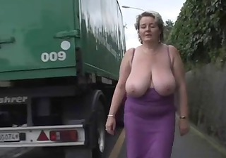 Big Tits Chubby Mature Natural Outdoor Public  Boobs