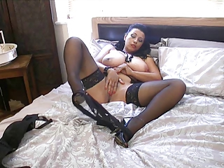 Amateur Big Tits Brunette Homemade Masturbating  Natural Stockings